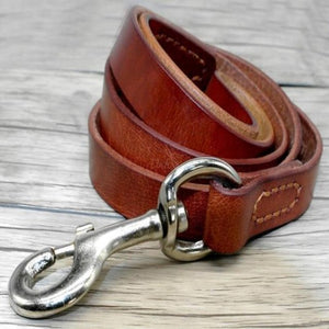Genuine Leather Dog Lead - Brown / L - Brown / M