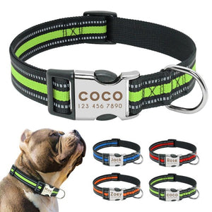Personalised Reflective Dog Collar For Medium And Large Dog's.