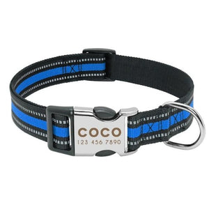 Personalised Reflective Dog Collar For Medium And Large Dog's. - Blue / L - Blue / M