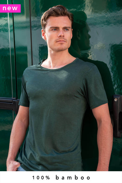 100% Bamboo T-Shirt Crew Neck Forest Green - Style 101 - 370 g