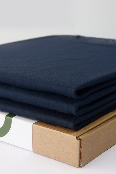 3-pack luxe bamboo t-shirts v neck navy