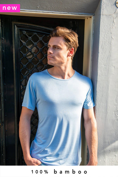 2-Pack 100% Bamboo T-Shirts Crew Neck Sky Blue - Style 101 BF - 370 g