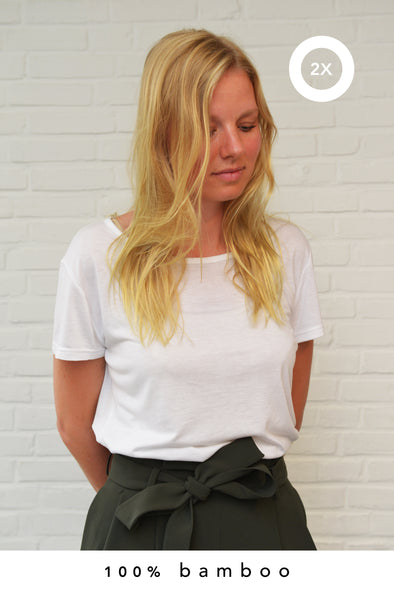 2x 100% bamboo shirt white for women (made-to-order in Bali + natural dye)