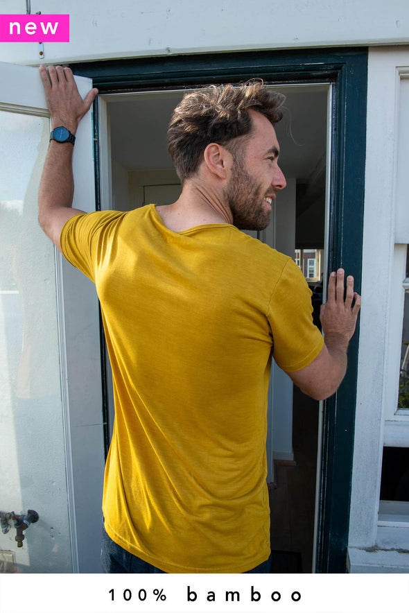 2-Pack 100% Bamboo T-Shirts Crew Burnt Yellow - Style 101 BF - 370 g