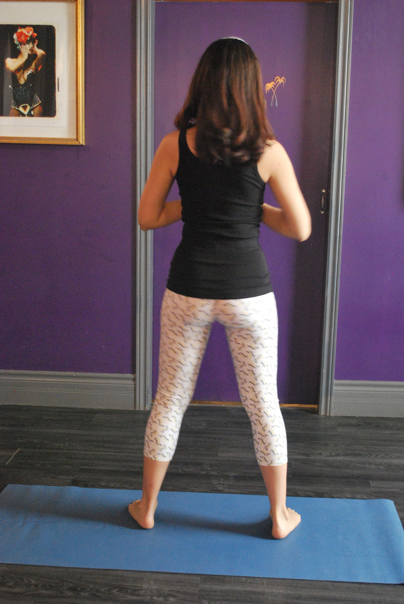 Oasis Yoga Capris White with Gold and Black logo