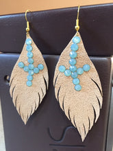 Leather Feather Earrings by Pretty Cactus