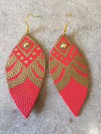 Coral and Gold Leather Earrings by Pretty Cactus