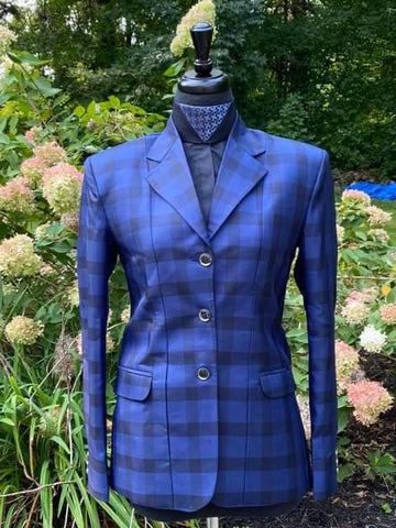 Blue plaid hunt coat by The Huntress