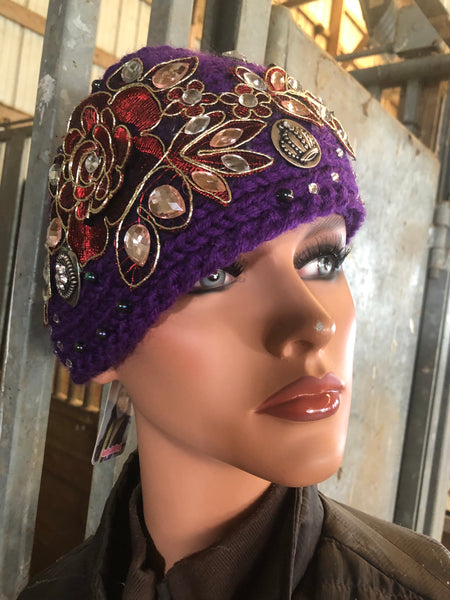 Purple and red ear warmer