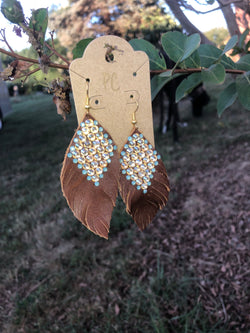 Blinged leather earrings by Pretty Cactus