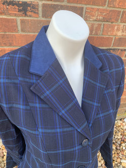 The Huntress navy plaid coat size 16