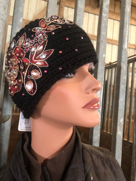 Black and red ear warmer