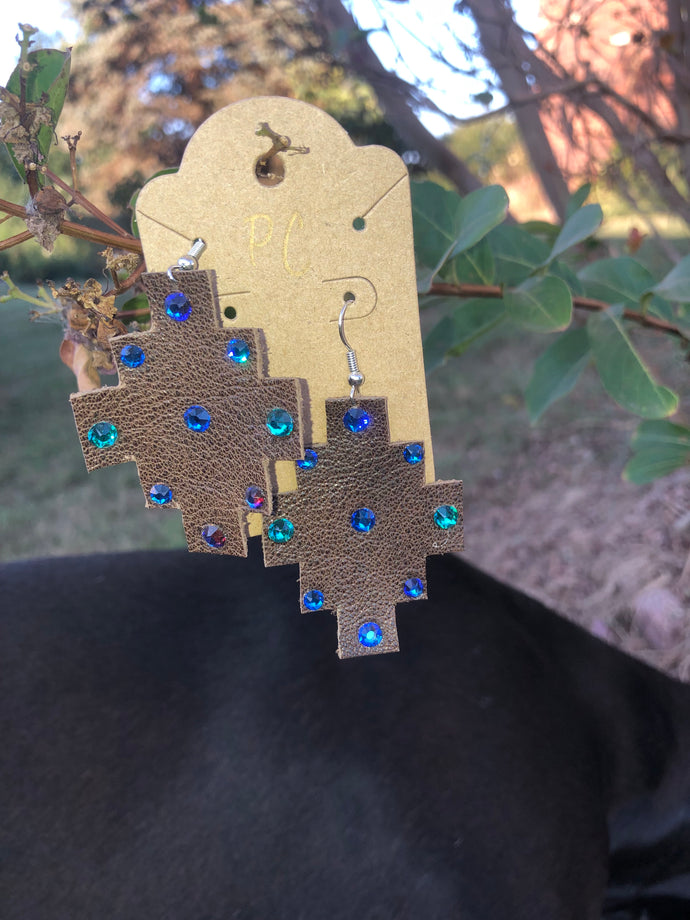 Leather hand cut earrings by Pretty Cactus