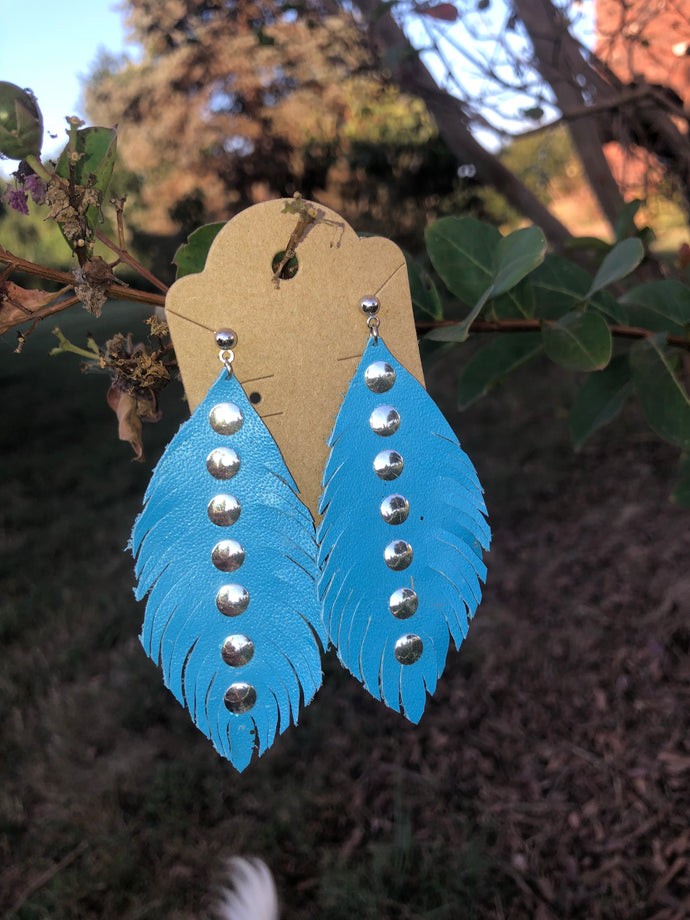 Blue leather earrings by Pretty Cactus