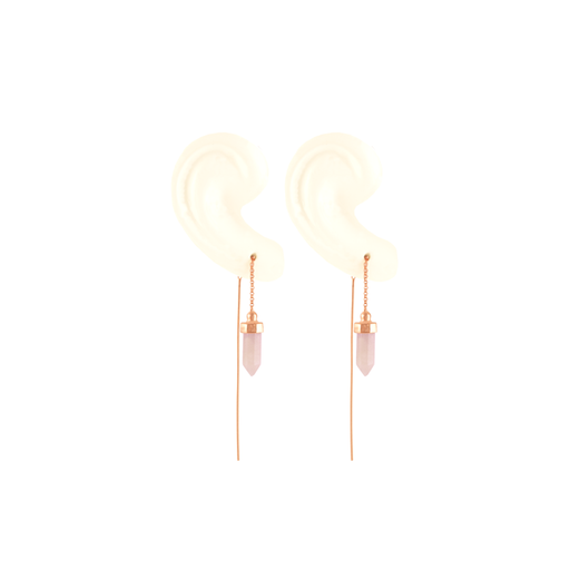 Rose Quartz Crystal Threader Earrings