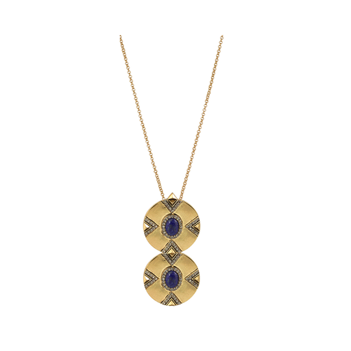 Dorelia Double Coin Lapis Pendant Necklace