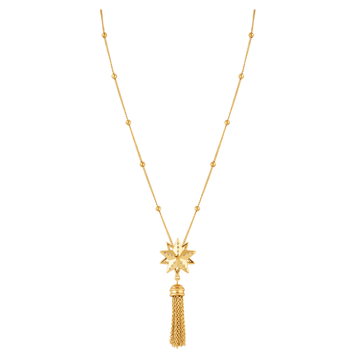 Gold Star Cluster Tassel Necklace