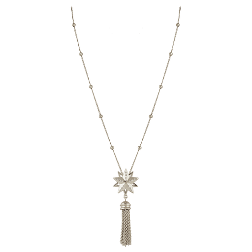 Silver Star Cluster Tassel Necklace