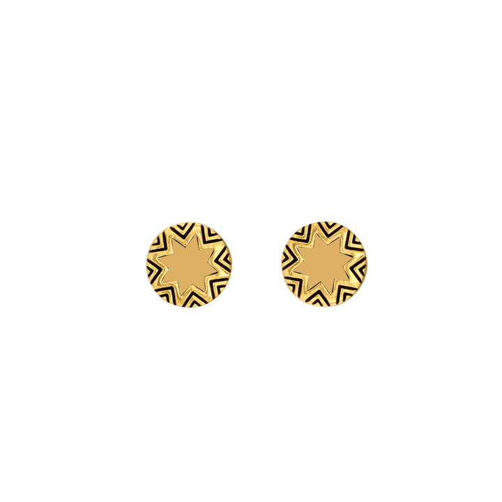 Gracy Lace Enamel Engraved Sunburst Stud Earrings