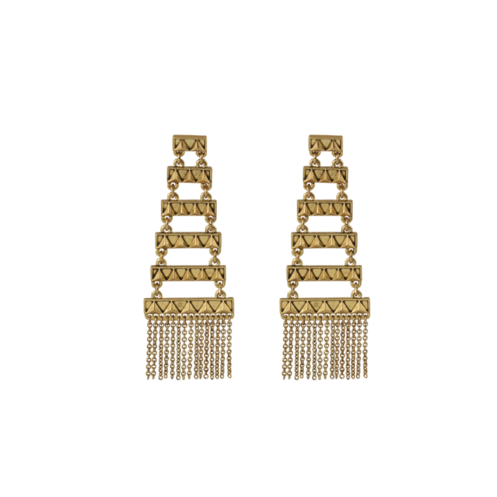 Gold Peak to Peak Fringe Earrings