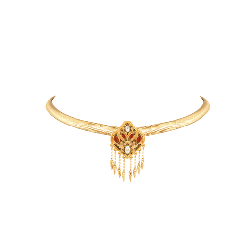 Gold/Carmelian Montezuma Choker Necklace