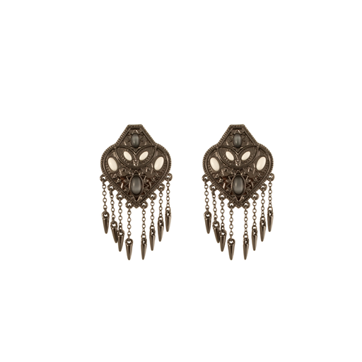 Gunmetal Montezuma Statement Earrings