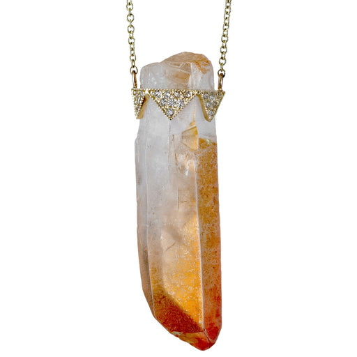 GOLD DIAMOND AND CITRINE PENDANT NECKLACE