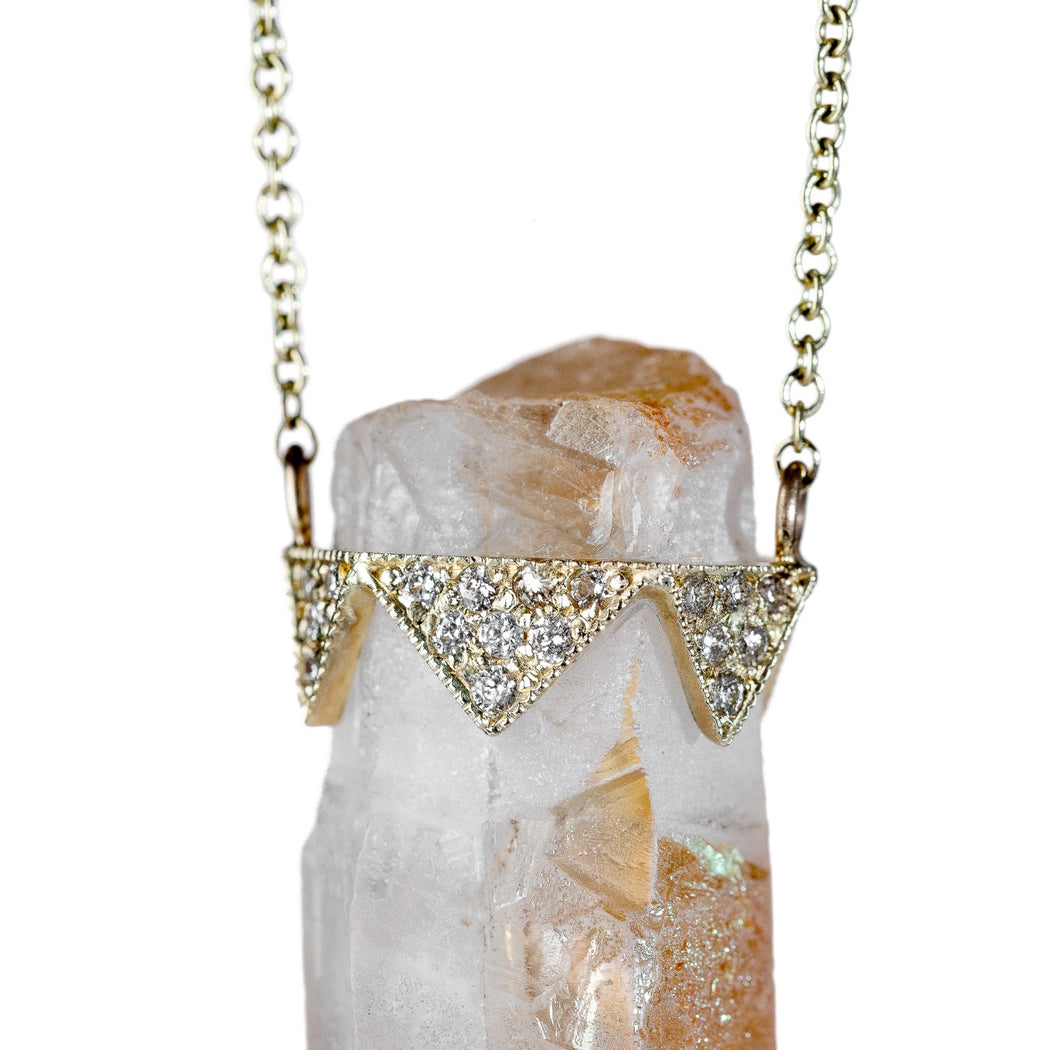 CUSTOM GOLD DIAMOND AND CITRINE PENDANT NECKLACE