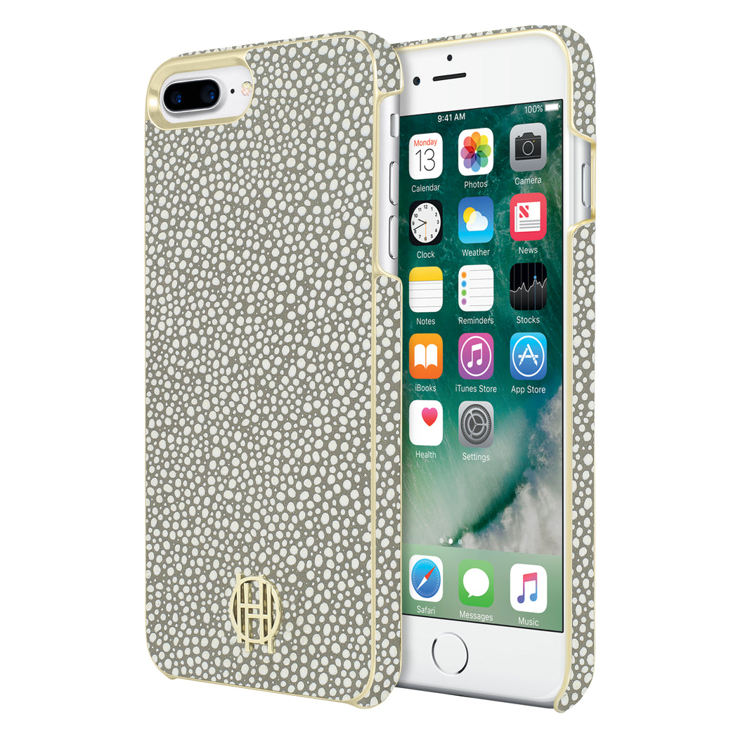 Snap Case for iPhone 8 Plus & iPhone 7 Plus - Grey Galuchat/Gold Metallic