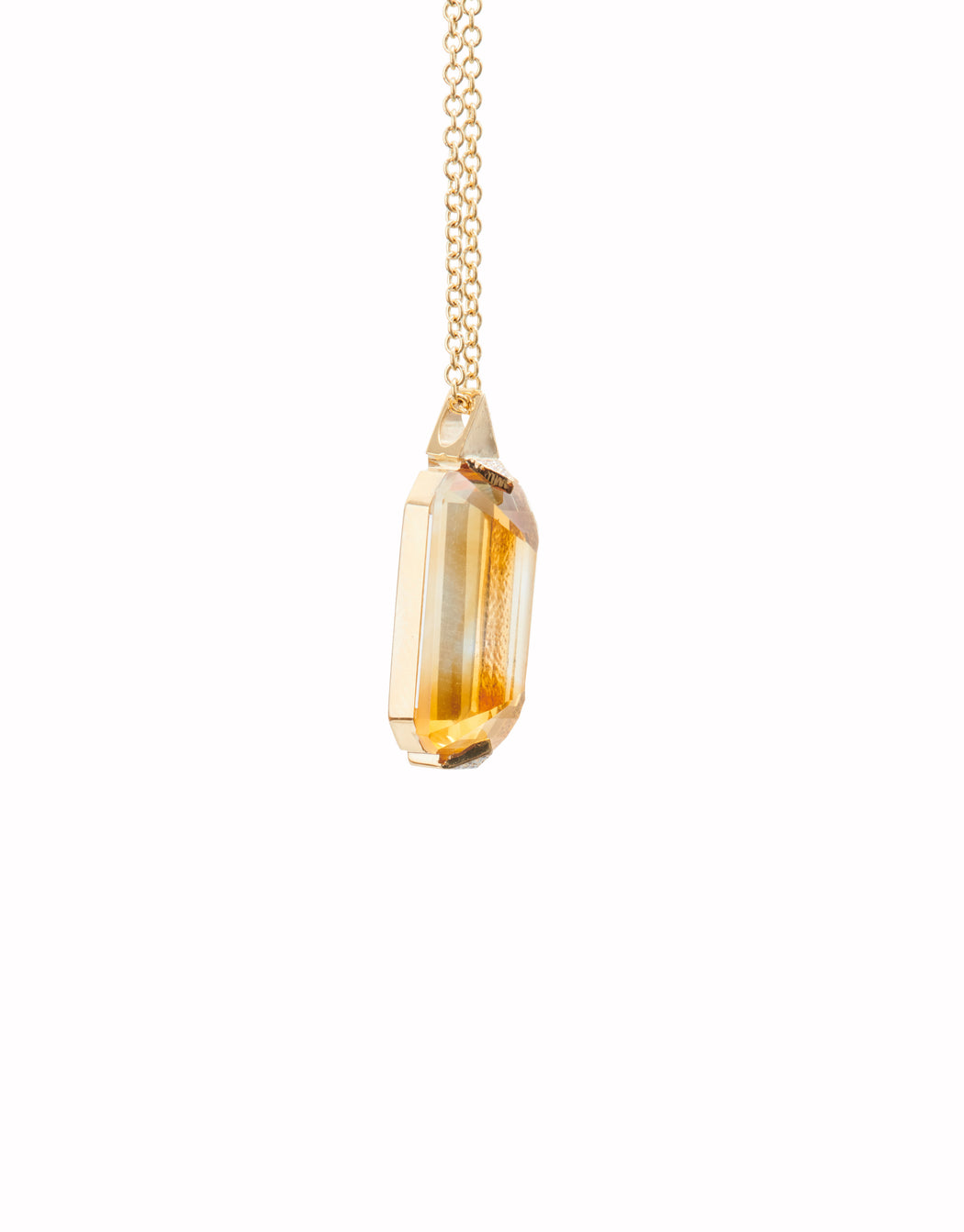 ELONGATED GOLD PAVE CITRINE PENDANT