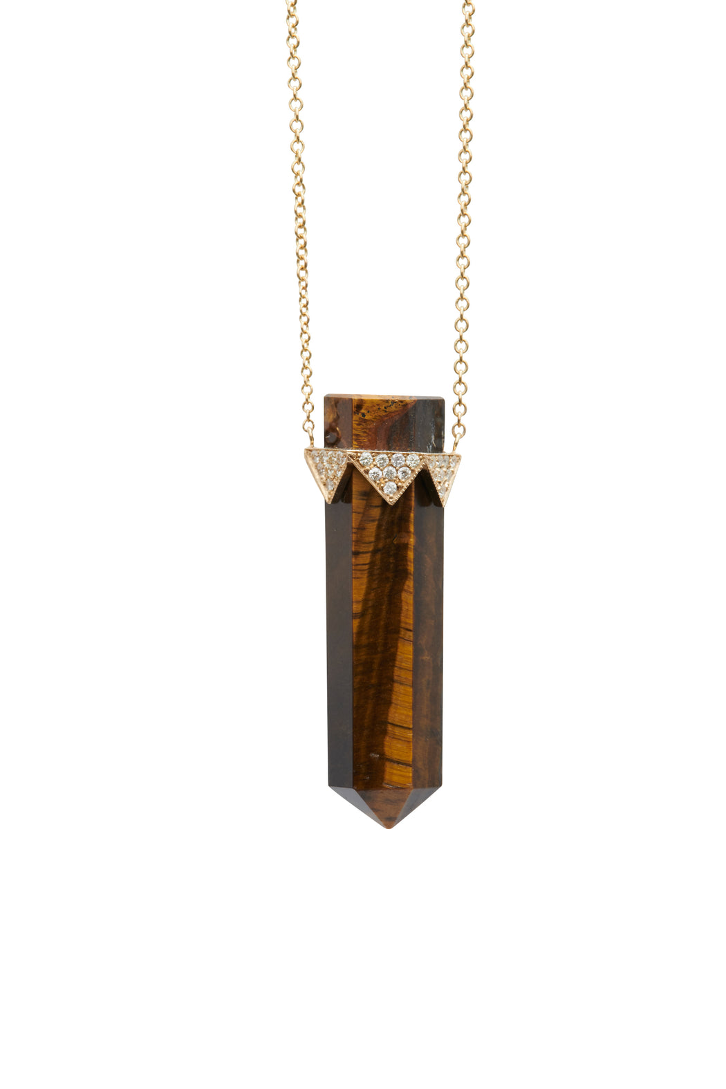 GOLD DIAMOND AND TIGERS EYE CRYSTAL PENDANT NECKLACE