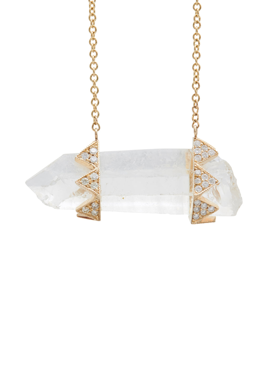 GOLD DIAMOND AND CLEAR QUARTZ HORIZONTAL CRYSTAL PENDANT NECKLACE