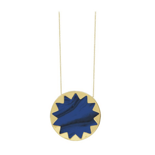 Large Lapis Sunburst Pendant Necklace