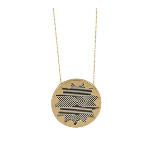 Gold and Silver Large Sunburst Pendant Necklace