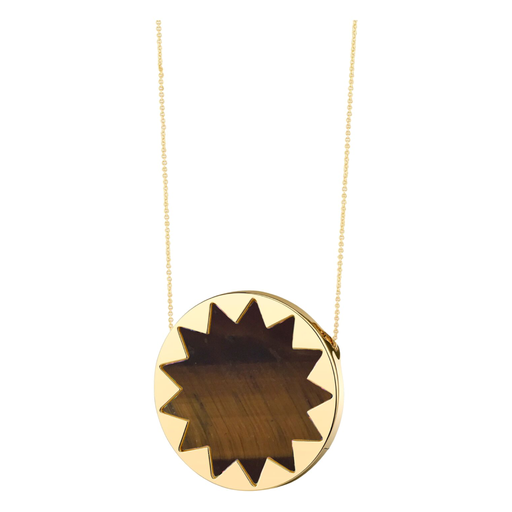 Large Tigers Eye Sunburst Pendant Necklace