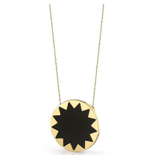 Large Black Leather Sunburst Pendant Necklace
