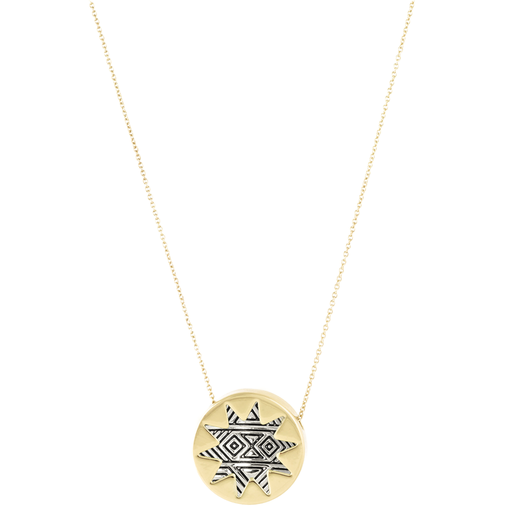 Engraved Mini Sunburst Pendant Necklace