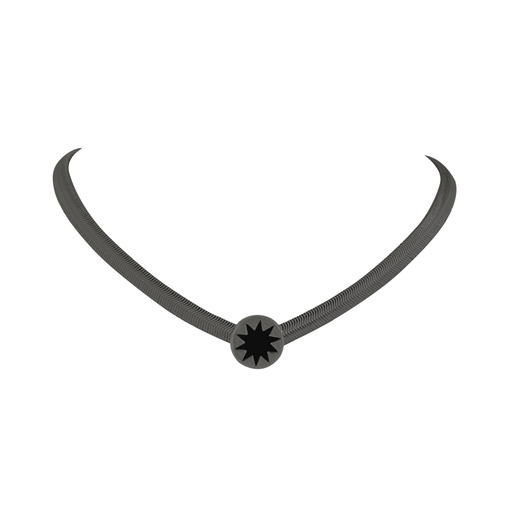 Gunmetal Black Enamel Sunburst Choker Necklace