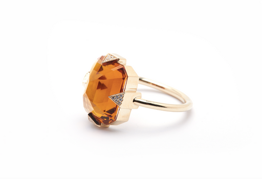 GOLD PAVE CITRINE RING