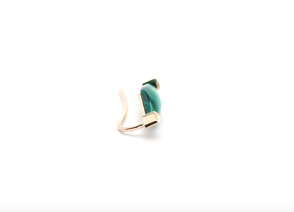 GOLD MALACHITE EAR CLIMBER