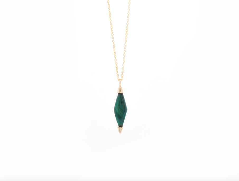 GOLD MALACHITE NECKLACE