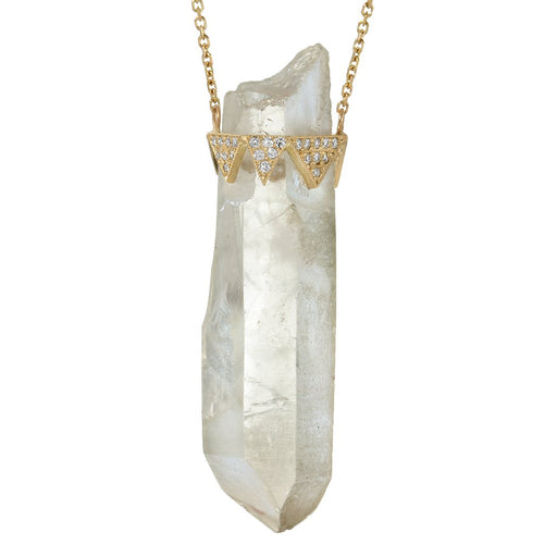 CUSTOM GOLD DIAMOND AND CLEAR QUARTZ CRYSTAL PENDANT NECKLACE