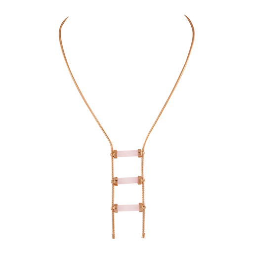 Rose Quartz Triple Horizontal Crystal Necklace