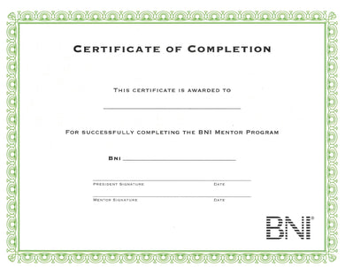 Mentor Program Completion Certificates (pack of 10)