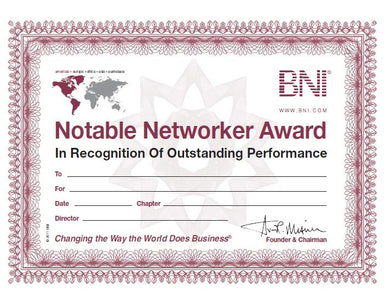 Notable Networker Certificates (pack of 10)
