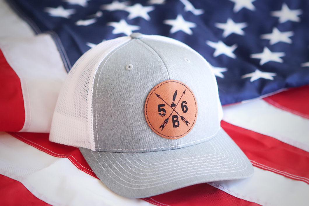 56B Leather Patch Hat (heather grey and white)
