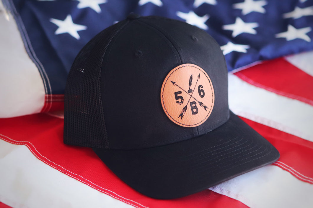 56B Leather Patch Hat (solid black)
