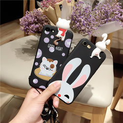 3D Lovely Cute Pet Cat RabbitCase For iPhone 6 6s 7 7plus