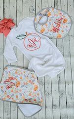 Monogrammed Peach Baby Gown