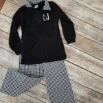 "alt=""black gingham quarter zip pullover"""